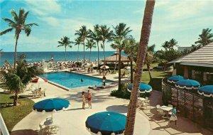 Pan American Motel Miami Beach Florida FL poolside view Postcard