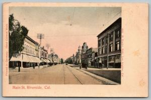 Riverside California~Horse & Buggy on Main Street~Stores~Trolley Tracks~c1905