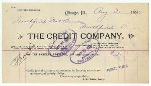 1895 Billhead, THE CREDIT COMPANY, Chicago, Illinois