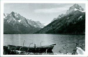 Vtg 1940s RPPC Idaho ID Big Redfish Lake Mt Heyburn Great Mogul UNP Unused