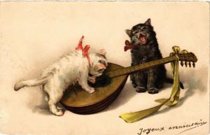 CPA AK CATS Cats and a lute (a2132)
