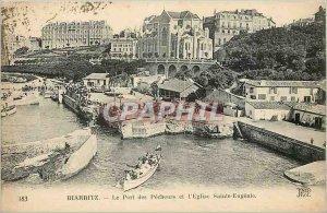Old Postcard Biarritz Port des Pecheurs and Eglise Sainte Eugenie