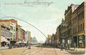 Oklahoma City OK~Main Street East~Kennedy Dry Goods~Sale!~Bank~GB Haley~1908 PC