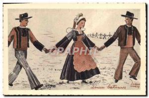 Old Postcard Folklore Dances Jorge Breton Morin Quimperle