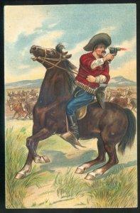 dc1651- COWBOY Shooting Postcard 1910s Embossed Cow Herd Horse