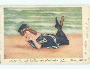 Pre-1907 risque SEXY GIRL AT BEACH IN SAILOR OUTFIT k3790