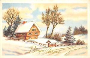 Bonne Annee! Snowy House in Winter, Happy New Year!