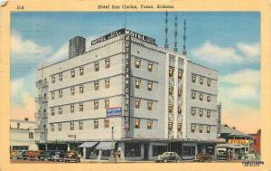 Autos 1949 Hotel San Carlos Yuma Arizona Lollesgard Teich linen 10181