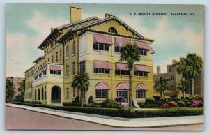 Postcard GA Savannah US Marine Hospital Vintage Linen N14