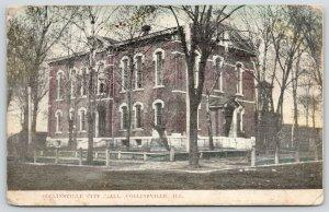 Collinsville Illinois~Collinsville City Hall~Cannon Display~Trees on Lawn~1910