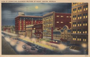 MACON, Georgia, 1945; View of Downtown Business Section, at Night