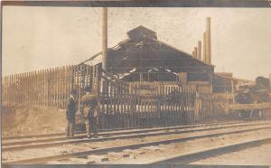 B40/ Brewster Ohio Postcard Real Photo RPPC c1910 Railroad Shops? Tracks