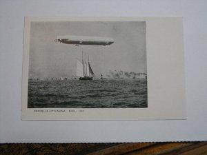 Postcard Germany Zeppelin Utowana Kiel 1912 Ship Schooner Sailing