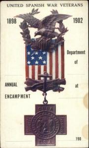 1898-1902 United Spanish War Veterans Postcard Showing Medals USWV ADV on BACK