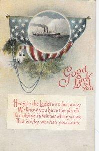 Good Luck To You, Steamer Ocean Liner, American Flag, White House, 1900-10s