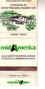 Matchbook Cover ! Mid America National Bank, Roseville, Minnesota !