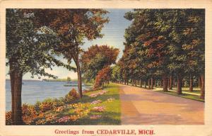 Cedarville Michigan~Drive Along the Bay~1946 Postmark~Linen Postcard