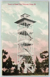 Peoria Illinois~Tower on Grand View Driveway~Trees Below~1909 Postcard