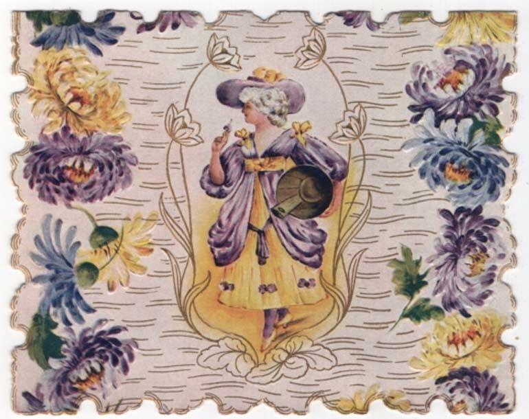 Vintage Die-Cut Valentine, FANCY DRESSED WOMAN IN PURPLE ...