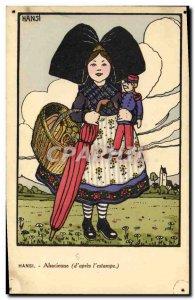 Old Postcard Fantasy Illustrator Child Doll Hansi Alsace Alsatian Militaria