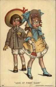 Gassaway - Boy & Girl raomce LOVE AT FIRST SIGHT c1910 Postcard