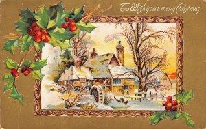 Christmas~Old Grist Mill Wheel~Winter~Ornate FrameHolly Berry~Gold Back Emboss