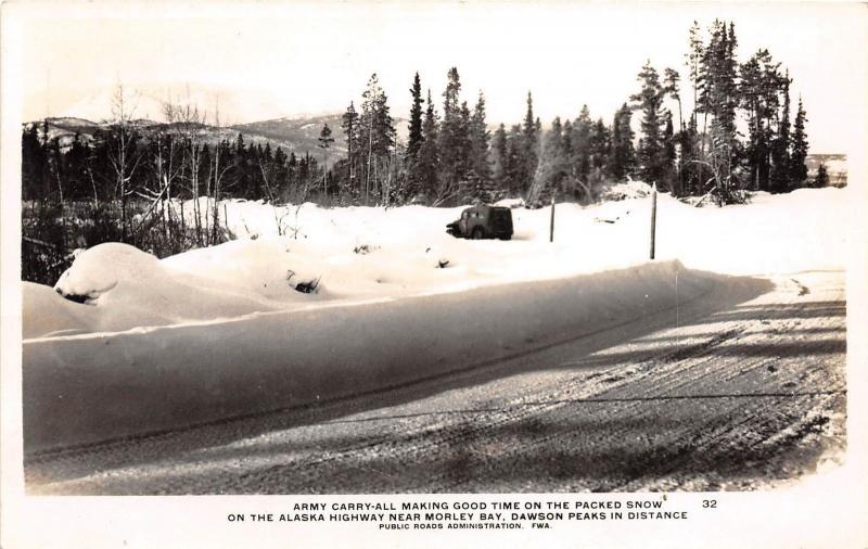 A67/ Alaska Highway Canada Postcard Photo RPPC c1940s Army Carry-All Morley Bay9