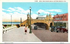 Florida Daytona Beach Arch and Ocean Walk Curteich