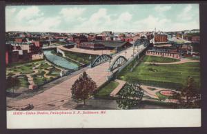 Union Station,Pensylvania RR,Baltimore,MD Postcard