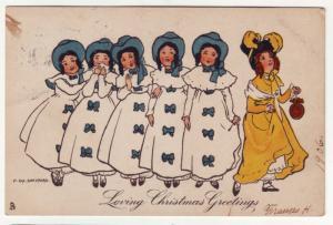 P318 JL 1906 postcard pretty woman xmas greetings