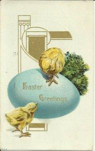 Easter Greetings Blue Egg    Embossed