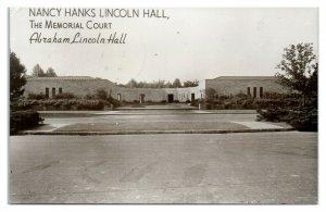 RPPC Nancy Hanks Lincoln Hall, Lincoln City, IN Real Photo Postcard *6S(5)5
