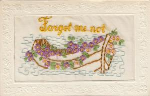 Hand Sewn, 1900-10s; Forget me not, boat with flowers