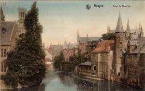 Bruges, West Flanders, Belgium, 1900-1910s ; Quai du Rosalre