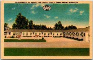 Grand Rapids, Minnesota Postcard ITASCAN MOTEL Highway 169 Roadside Linen Unused