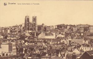 Belgium Brussels Eglise Sainte Gudule et Panorama