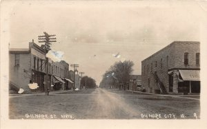 G24/ Gilmore City Iowa RPPC Postcard c1910 Gilmore St North Stores