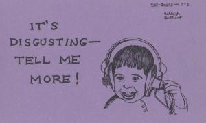 Its Rude Disgusting Tell Me More Old Hi Fi Headphones Motto Proverb Postcard