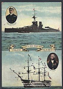 UK Postcard HMS Iron Duke & HMS Victory Admiral Jellicoe  & Lord Nelson