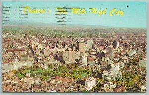 Denver Colorado~Aerial View Of City~Rocky Mts West~Vintage Postcard