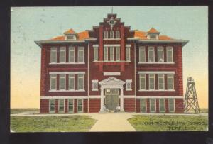 TEMPLE OKLAHOMA TEMPLE HIGH SCHOOL BUILDING ANTIQUE VINTAGE POSTCARD STOVER