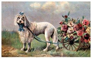 Dog ,  Dog pulling wagon of flowers