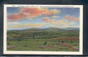 Virginia postcard Sunrise Luray Blue Ridge Mtns