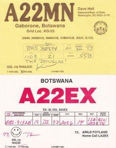 Botswana Gaborone 2x QSL Radio Card s
