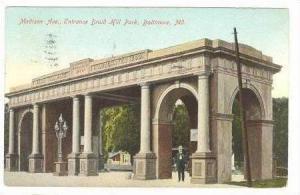 Madison Avenue, Entrance Druid Hill Park, Baltimore, Maryland, PU-1909