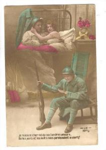 RP; Hand-tinted, Soldier remembers his rendevue with his lady whie reading le...