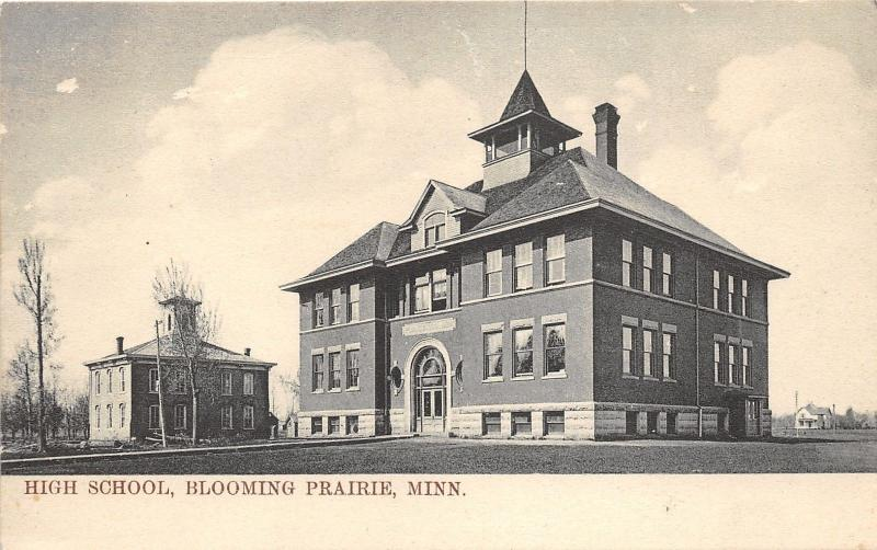 Blooming Prairie Minnesota~High School Building(s)~House in Distance~c1905 Pc