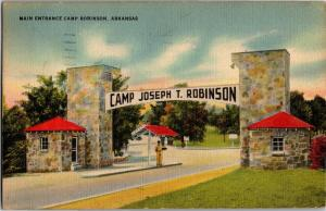 Main Entrance Camp Robinson Arkansas c1940s Vintage Postcard P18