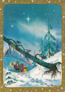 Three Wise Men caricature Foky Otto & Emmi signed postcard