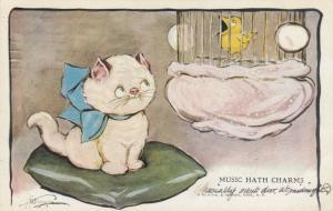 Grace DRAYTON-WIDERSEIM, 1928; Kitten on pillow staring at bird in cage